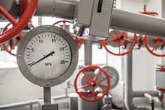 Valves and manometers on pipeline system Stock Image