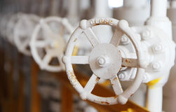 Valves manual in the process. Production process used manual val Royalty Free Stock Photo