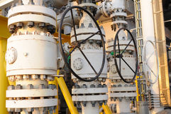 Valves manual in the process  Production process used manual valve to control Stock Images