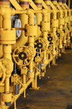 Valves manual in the process. Production process used manual valve to control the system Stock Images