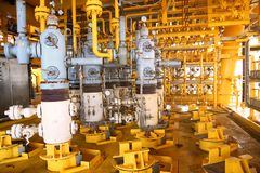 Valves manual in the process,Production process used manual valve to control the system,dirty or old manual valve,valve in oil. And gas process and operated by Stock Photos