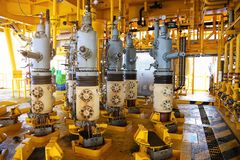 Valves manual in the process,Production process used manual valve to control the system,dirty or old manual valve,valve in oil. And gas process and operated by Royalty Free Stock Photo