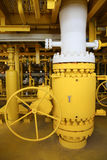 Valves manual in the process,Production process used manual valve to control the system,dirty or old manual valve,valve in oil Stock Photos