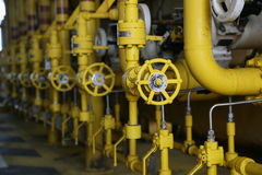 Valves manual in the process,Production process used manual valve to control the system,dirty or old manual valve,valve in oil. And gas process and operated by Stock Image