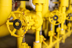Valves manual in the process,Production process used manual valve to control the system,dirty or old manual valve,valve in oil Stock Image