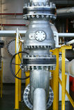Valves manual in the process. Production process used manual valve to control the system, duplex valve or stainless steel valve Royalty Free Stock Photo