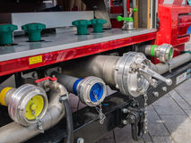 Valves of a modern Dutch fire truck Royalty Free Stock Image