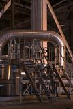 Valves and pipes. Stainless steel temperature control valves and pipes Stock Photography