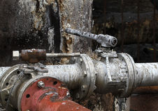 Valves and pipes in dirty environment. Royalty Free Stock Image