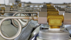 Valves and pipes. In industry Stock Photos