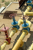 Valves and valve on the gas line. Royalty Free Stock Photos