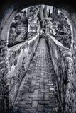Valvgång och vall, Alcazaba fästning, Malaga, Andalusia, Spanien fotografering för bildbyråer