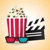 Valvola del cereale di schiocco del cinema e vetri 3d Immagine Stock