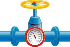 Valvola del tubo di gas e tester di pressione Fotografie Stock