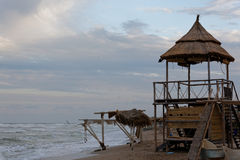 Vama Veche. Observation tower on the shore of Black Sea, made with wood and reed, in Vama Veche, Constanta, Romania Royalty Free Stock Images