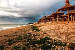 Vama Veche Rumänien soluppgång på stranden Arkivbild