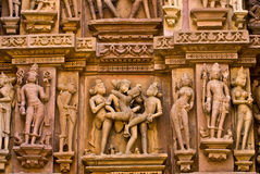 Vamana Temple.India. Details of sculpture on outer wall of the Vamana Temple at Khajuraho.India Royalty Free Stock Photography