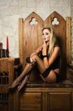 性感的vamp妇女 免版税库存照片