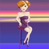 Vamp da mulher com vidro da videira Foto de Stock Royalty Free