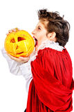 Vamp with pumpkin Royalty Free Stock Images
