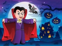 Vampier in Halloween-landschap 1 Royalty-vrije Stock Afbeeldingen