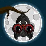 Vampier het hangen van een griezelige boom met een volle maan op de achtergrond royalty-vrije illustratie