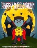 Vampier voor Gelukkig Halloween met achtergrond Royalty-vrije Stock Foto