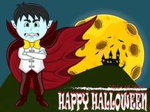 Vampier voor Gelukkig Halloween met achtergrond Royalty-vrije Stock Afbeelding