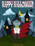 Vampier voor Gelukkig Halloween met achtergrond Stock Afbeeldingen