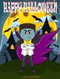 Vampier voor Gelukkig Halloween met achtergrond Stock Foto