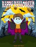 Vampier voor Gelukkig Halloween met achtergrond Royalty-vrije Stock Afbeeldingen