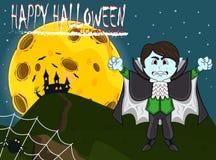 Vampier voor Gelukkig Halloween met achtergrond Stock Afbeelding