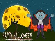 Vampier voor Gelukkig Halloween met achtergrond Stock Fotografie