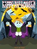 Vampier voor Gelukkig Halloween met achtergrond Stock Foto's