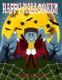 Vampier voor Gelukkig Halloween met achtergrond Royalty-vrije Stock Fotografie