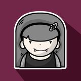 Vampiere de la mujer con los colmillos y el peinado stock de ilustración