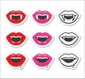 Vampiermond, geplaatste de etiketten van vampiertanden Royalty-vrije Stock Foto