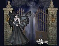 Vampir am Gatter-Hintergrund Stockfoto
