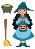Vampir, Sorceress, grimmiger Reaper Kleine Hexe, Topf und Besen Lustiger Karikaturvektor Halloween-Charakter lokalisiert auf dem  Stockfoto