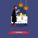 Vampire à la partie de Halloween Affiche heureuse de concept de vacances Illustration de vecteur dans la conception plate de styl Photo libre de droits