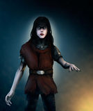 Vampire. A digital painting of a pale vampire with long hair and glowing eyes, dressed in chain mail and wearing a crimson tunic Royalty Free Stock Photography