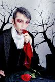 Vampire. Portrait of a handsome young man with vampire style make-up. Shot in a studio Stock Images