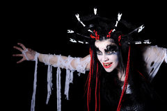 Vampire. Portrait of vampire woman with stage makeup isolated on black Stock Photos