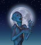 Vampire antique dans le clair de lune illustration de vecteur
