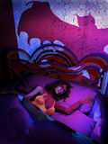 Vampire attack. Night scene into an room. A woman is sleeping in her bed, while the shadow of a vampire is projected on the wall behind her Royalty Free Stock Images