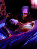 Vampire attack. Night scene into an room. A woman is sleeping in her bed, while  a vampire  approaches her neck Stock Photography