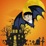 Vampire bat flying on the full moon on cemetery with horror pumpkin and dracula castle, trick or treat background, baby Stock Images