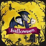 Vampire bat flying on the full moon on cemetery with horror pumpkin and dracula castle, trick or treat background, baby Stock Photos
