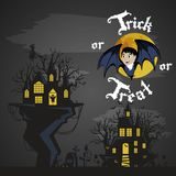 Vampire bat flying on the full moon on cemetery with horror pumpkin and dracula castle, trick or treat background, baby Stock Photo