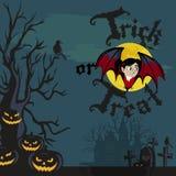 Vampire bat flying on the full moon on cemetery with horror pumpkin. Vampire bat flying on the full moon on cemetery with horror pumpkin and dracula castle Stock Photos